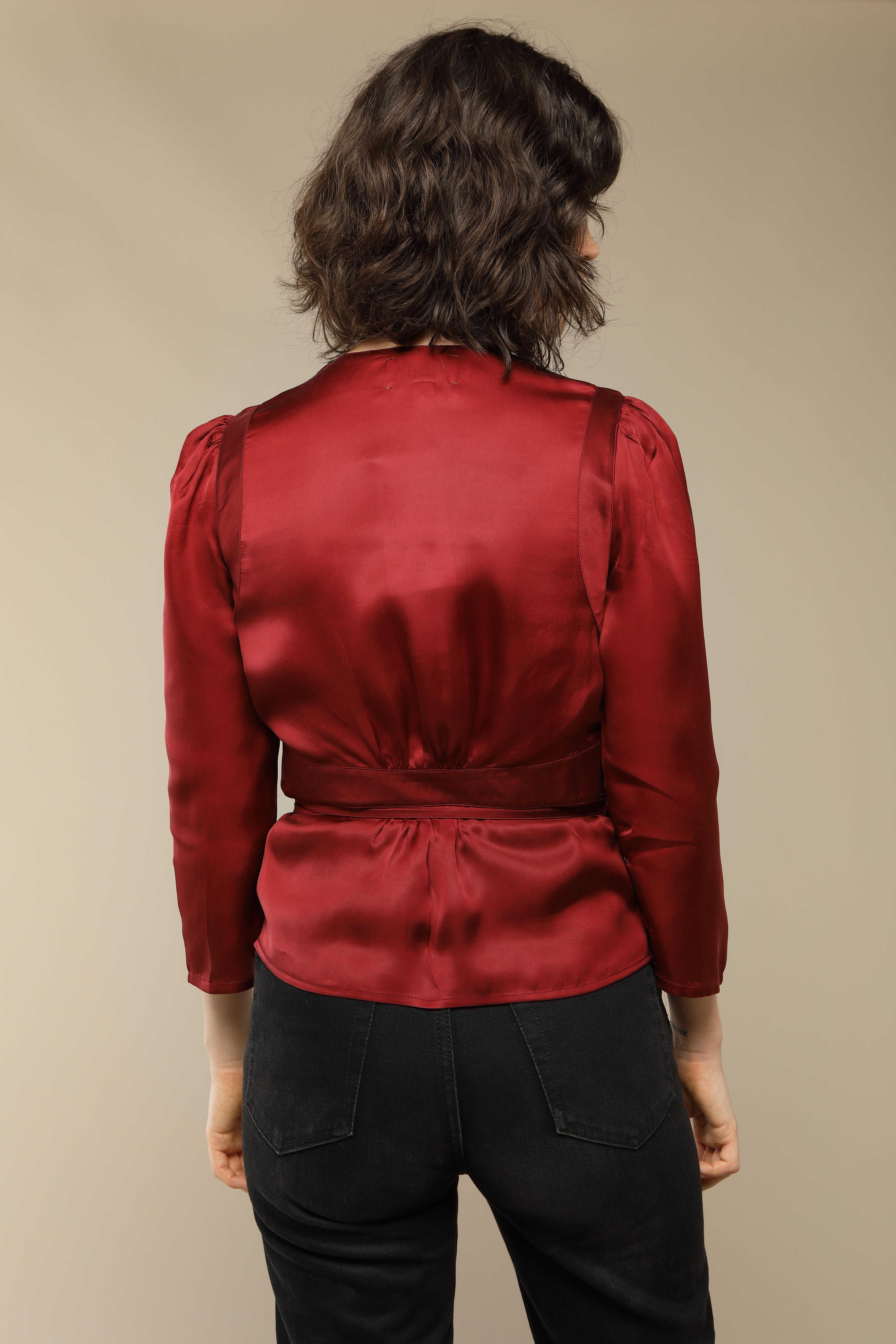 ANNA top in raspberry satin
