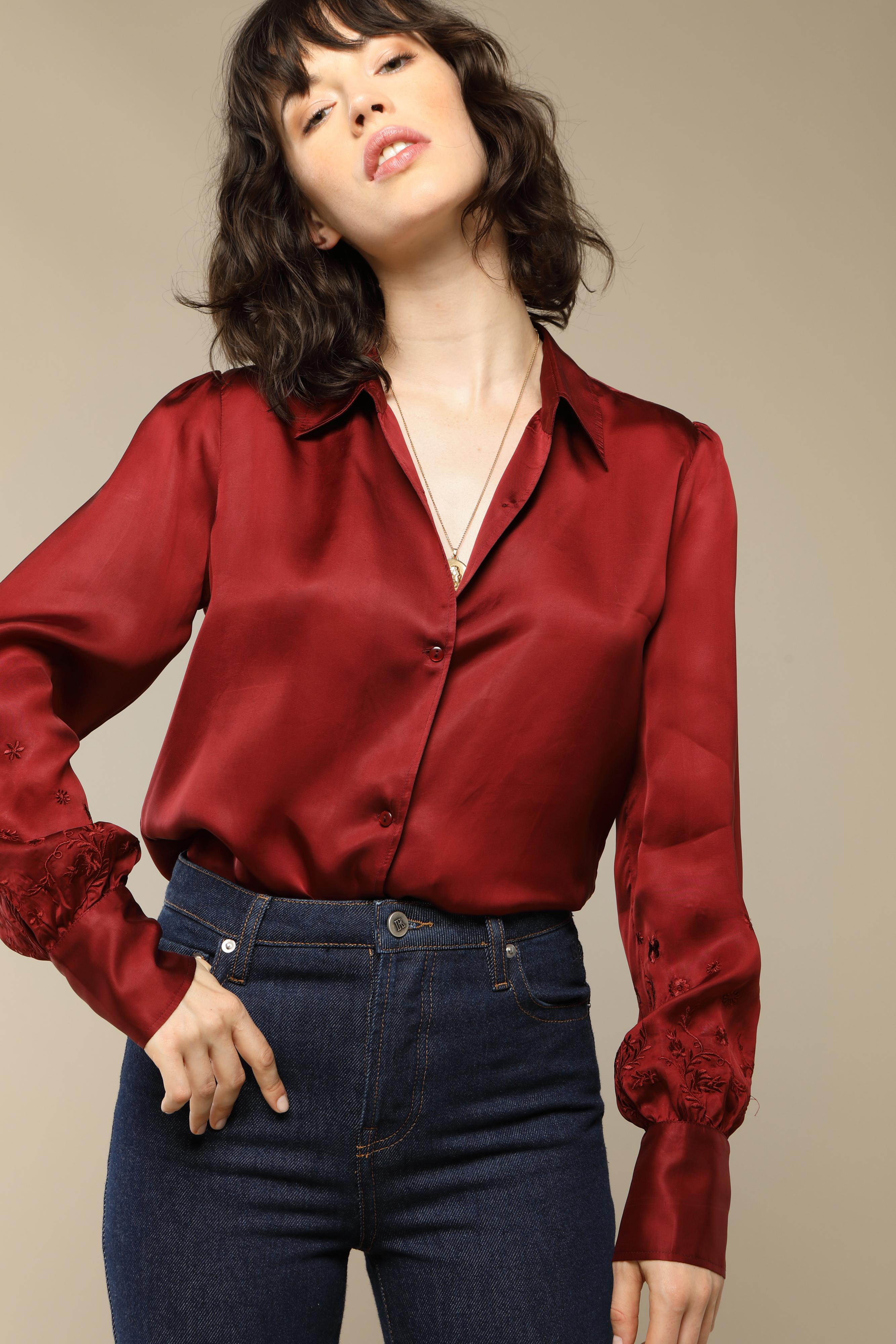 CHLOE shirt in raspberry satin