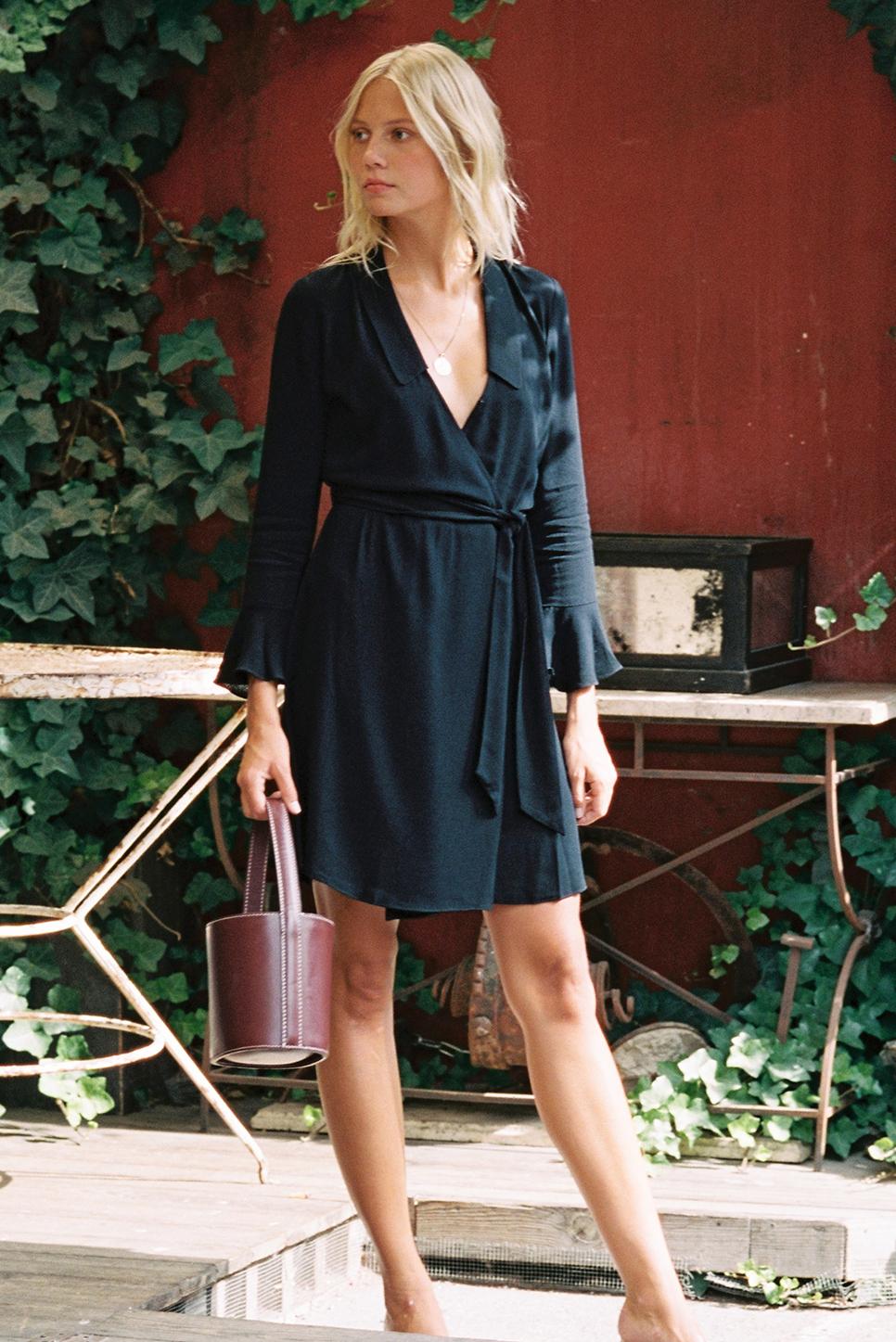 BROOKE dress in black crepe