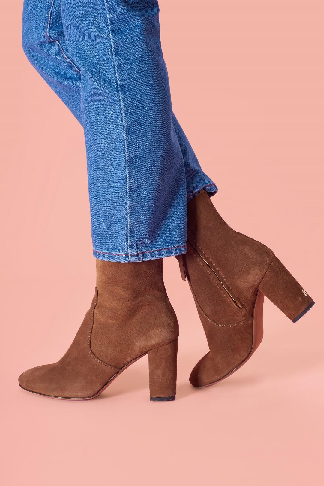Boots BRIGITTE en daim marron