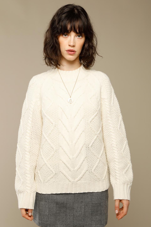 OSCAR pullover in ecru wool